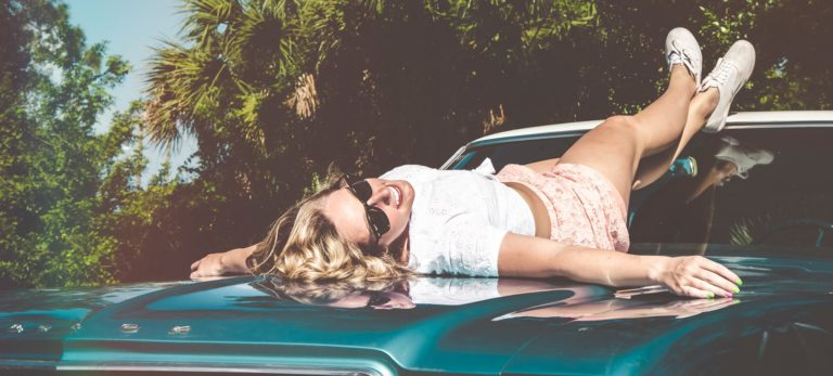 Girl On car Summer Outfit Wear Vibes Vintage Retro